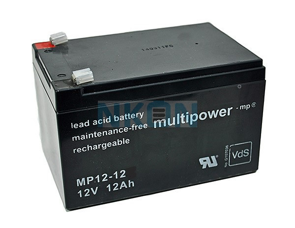 Multipower 12V 12Ah Loodaccu (4.8mm)