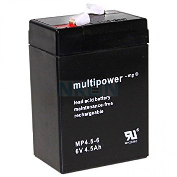 Multipower 6V 4.5Ah Loodaccu (4.8mm)