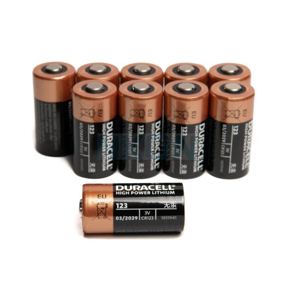 10x Duracell CR123A Lithium