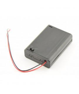 3x AA Batterijendoosje met losse draden en schakelaar